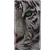 White Tiger Pattern TPU Soft Case for Sony Xperia T3