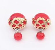 2015 New Design Double Side Ball Resin Stud Earrings For Women Fashion Gold Plated Alloy Pearl Ball Earrings