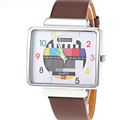 Unisex TV Pattern Square Silver Case PU Band Quartz Wrist Watch Cool Watch Unique Watch