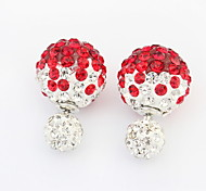 Fashion Jewelry Double Side Crystal Ball Earrings 4 Colors Big Size Double Crystal Pearl Earrings For Women