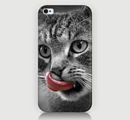 la lingua leccare il caso del modello del gatto della copertura posteriore per phone4 caso / 4s