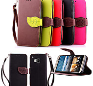Luxury Leather Skin Card Holder Stand Magnetic For HTC M9 Phone Flip Cases Shell Leaf Pouch Wallet + Lanyard