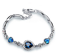 Heart-shaped bracelet with crystal