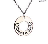 Euner® Hot Design Cross Fit Girl Necklace Heart Hollow Circle Necklace Letters Pendant Necklace For Women