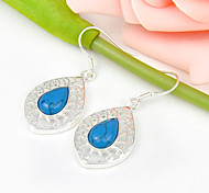 Artistic Gift for Friend Fire Drop Blue Turquoise Gem 925 Silver Stud Earrings For Wedding Party Daily Holiday 1Pairs