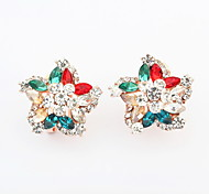 New Arrived For 2015 Free Shipping Korea Style Fashion Colorful Flowers Earrings For Women