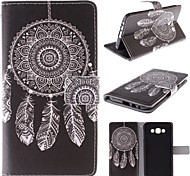 White Dreamcatcher Pattern PU Leather Full Body Case with Stand and Card Slot for Samsung Galaxy E7/E700