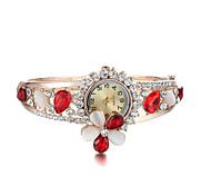 Sjewelry Lady Women Girl Quartz Colorful Crystal Flower Wrist Watch Gifts