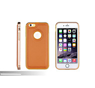 Push Pull Rear Panel Brief Metal Pu Mobile Telephone Shell for iPhone 6 Plus