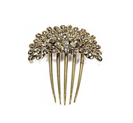 Hair Clip Comb Metal Rhinestone Flower Party Gift Gold Tone