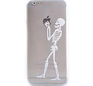 Slim Transparent White Skeleton Pattern Soft Phone Case for iPhone 6 Plus