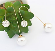 Fashion Design Elegant Long Pearl Earrings Gold Plated Double Side Ball Crystal Pearl Stud Earrings For Women