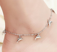 Vilam® Hot Girl Ankle Bracelet Bead Chain Simple Silver Dolphin Charm Beads Sea Side Beach Anklet Foot Jewelry