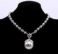 Fashion Women's Big Pearl Pendant Necklace with Crystal and Love Words (Imitation Rhodium plated)
