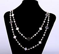 Cute Women's Black & White Flowers Accessories Long Necklace with Painting
