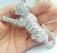 Women Accessories Silver-tone Clear Rhinestone Crystal Leopard Brooch Art Deco Crystal Brooch