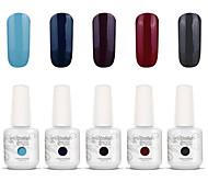 Gelpolish Nail Art Soak Off UV Nail Gel Polish Color Gel Manicure Kit 5 Colors Set S116