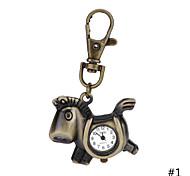 High Quality Retro Style Bronze Horse Quartz Necklace Pendant Chain Clock Pocket Watch  Key Ring Watch For Men Women