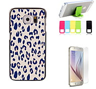 Pink Leopard Print Design Hard Case with Screen Protector and Stand Holder for Samsung Galaxy S6