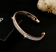 Браслет разомкнутое кольцо Кристалл Имитация Алмазный 18K золото Уникальный дизайн Мода Бижутерия Золотой Серебряный Бижутерия 1шт