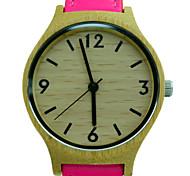 Ladies Fashion Quartz Watch Handmade Bamboo Wooden Clock Pink Leather Wrist Watch