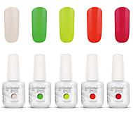 Gelpolish Nail Art Soak Off UV Nail Gel Polish Color Gel Manicure Kit 5 Colors Set S123