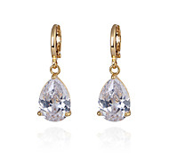 Women's Fashion Gold Filled Waterdrop Shaped CZ Stone Dangle Earring