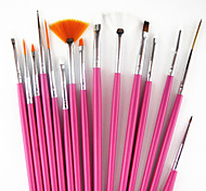15PCS Pink Handle Nail Art Design Painting Drawing Pen Brush Set&5PCS 2-way Dotting Marbleizing Pen Tool