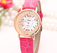 Vintage Woman'S Watch Student Watches  Fashion Crystal Crescent-shaped PU Watch