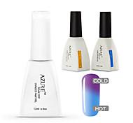 Azure 3 Pcs/Lot  Soak-off Color Changing UV Gel Nail Polish Top and Base Coat for Nail Beauty(#37+BASE +TOP)