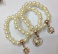 Cheap Promotion Gift Handmade Jewelry Love Resin Pearl Beads Stretch Bracelets