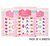 Pack of 6 Sheets 3D Nail Decals Nail sticker The Cute Rabbit QJ-3D-609-611
