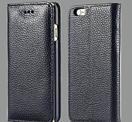 Luxury Lychee Pattern Genuine Leather Case for iPhone 6 4.7 Business Head Layer Cowhide Holster Cover for Apple iPhone 6