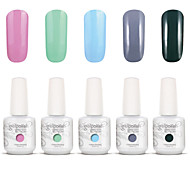Gelpolish Nail Art Soak Off UV Nail Gel Polish Color Gel Manicure Kit 5 Colors Set S137