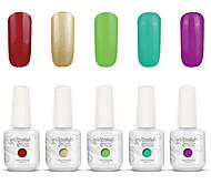 Gelpolish Nail Art Soak Off UV Nail Gel Polish Color Gel Manicure Kit 5 Colors Set S128