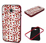 2-in-1 kleine rote flowerspattern tpu rückseitige Abdeckung mit pc Stoßstange stoßfest Hülle für Samsung-Galaxie e5