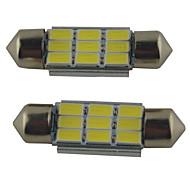 2шт carking ™ гирлянда 36mm / 39mm / 41mm 2W 9 * 5630smd 215ml 6000k белый свет привел Рим лампы (DC 12V)