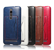 For Asus Case Card Holder / with Stand Case Back Cover Case Solid Color Hard PU Leather ASUS