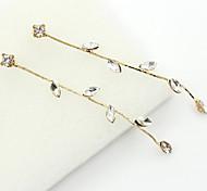 Tropfen-Ohrringe Kristall Strass vergoldet 18K Gold Imitation Diamant Modisch Gold Schmuck 2 Stück