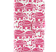Small Pink Elephant Pattern PU Leather Painted Phone Case For Nokia N435