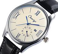 reloj de pulsera de cuarzo japonés banda de cuero de línea calendario del estilo del negocio de la pareja
