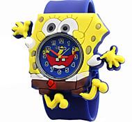 Children's Cartoon Spongebob  Pattern Silicone Lovely Quartz Gel Clap Watch