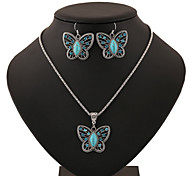 Turquoise Butterfly Shape Pendant Silver Necklace & Earrings Jewelry Set