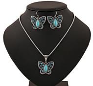 Turquoise Butterfly Shape Pendant Silver Necklace & Earrings Jewelry Set