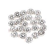 50pcs argento tondo strass spacer rondelle tallone 10 millimetri