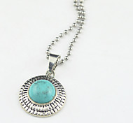 Toonykelly®Vintage Look Antique Silver Round Turquoise Stone Necklace(1 Pc)