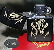 Personalized Engraved Dragon Pattern Black Oil Lighter