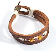 Fashion Three Layers Cutting Beaded Bracelet Leather Bracelets 1pc