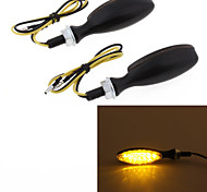 Motorcycle Yellow 12 LED Turn Signal Light Bulb Blinker Smoke Lens DC12V 8mm (2 Pcs)