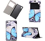 papillon vue motif winodw portefeuille en cuir cas de rabat pour sony xperia m4 aqua / Sony Xperia c4